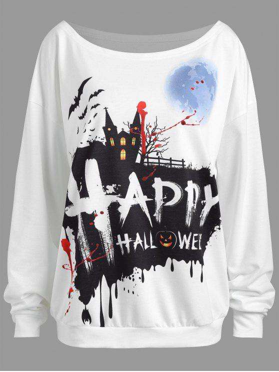 Plus Size Happy Halloween Drop Schulter Sweatshirt - Weiß 2XL