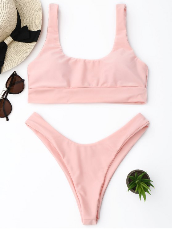 Ensemble Bikini Thong à Coupe Haute - ROSE PÂLE S