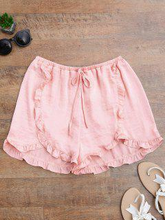 Satin Drawstring Tulip Cover Up Shorts - Pinkbeige L
