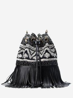 Fringed Drawstring Tribal Print Crossbody Bag - Black