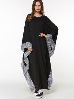 Plaid Batwing Sleeve Maxi Arabic Dress - Black