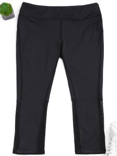 Mesh Panel Cropped Leggings - Black L