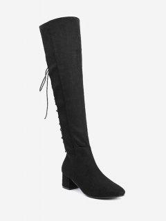Chunky Heel Lace Up Over The Knee Boots - Black 40