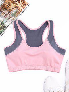 Racerback Two Tone Sports Bra - Pink M