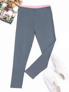 Patchwork Athletic Leggings - Blue Gray Xl