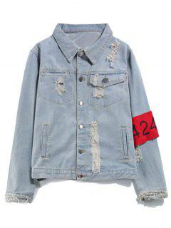 Armband Streetwear Ripped Denim Jacket - Denim Blue L