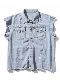 Ripped Graphic Sleeveless Denim Jacket - Denim Blue M
