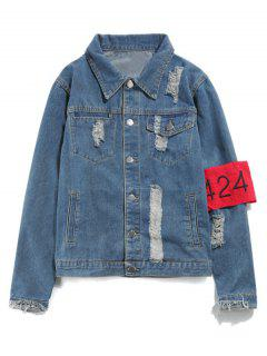 Streetwear Ripped Armband Denim Jacket - Blue L