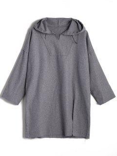 Wool Blend Slit Longline Hoodie - Gray