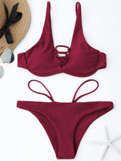 Lace-up Underwire Bikini Set - Wine Red M