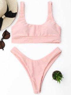 Scooped High Cut Thong Bikini Set - Pink S