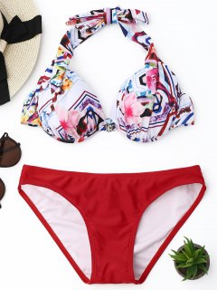 Halter Floral Underwire Bikini Set - Red S