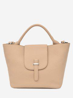 Top Handle PU Leather Handbag - Palomino