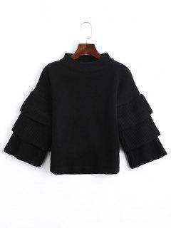 Loose Layered Sleeve Mock Neck Sweater - Black