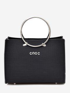 Metal Ring 2 Pieces Letter Handbag Set - Black