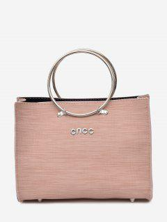 Metal Ring 2 Pieces Letter Handbag Set - Pink