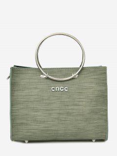 Metal Ring 2 Pieces Letter Handbag Set - Green