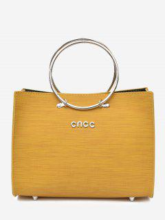 Metal Ring 2 Pieces Letter Handbag Set - Yellow