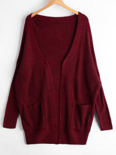 Open Front Chunky Cardigan With Pockets - Wine Red