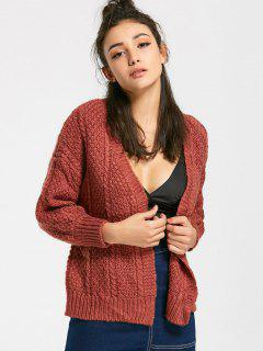 Cable Knit Open Front Cardigan - Coffee