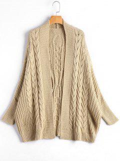 Cable Knit Batwing Sleeve Kardigan - Apricot