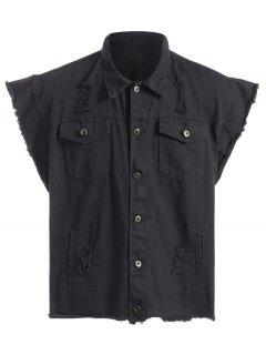 Ripped Graphic Sleeveless Denim Jacket - Black L