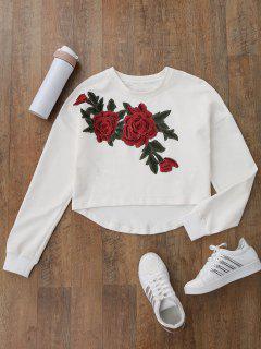 High Low Floral Applique Sweatshirt - White M