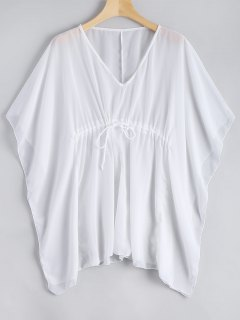 Sheer Kaftan Cover-up Top - White