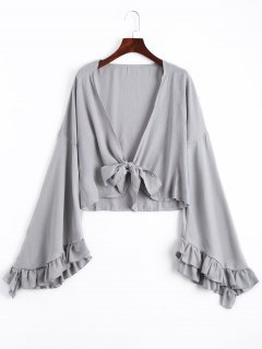 Frilled Front Knot Cover-up Top - Gray M