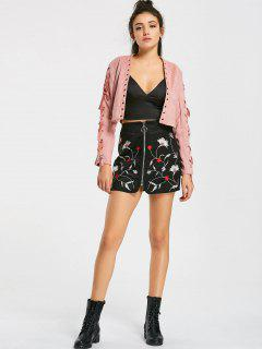 Floral Embroidered Faux Suede Mini Skirt - Black S