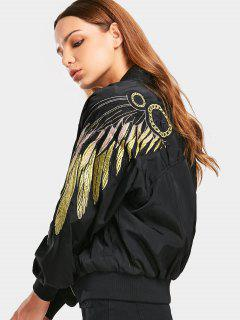 Zip Up Shiny Embroidered Bomber Jacket - Black M