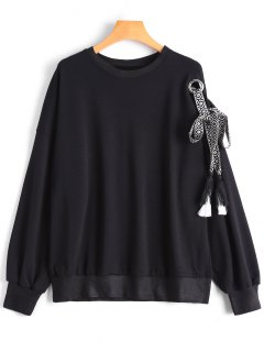 Webbing Kalte Schulter Sweatshirt - Schwarz S
