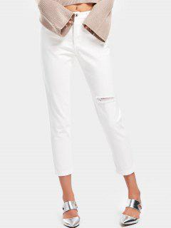 High Waisted Distressed Pencil Jeans - White M