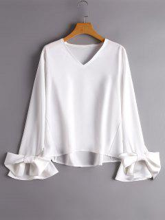 Flare Sleeve V Neck Bowknot Blouse - White L