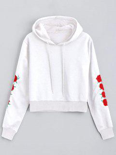 Floral Patched Drawstring Hoodie - White L