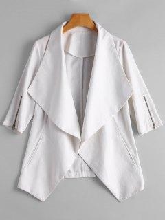 Zipper Sleeve Drape Front Blazer - White L