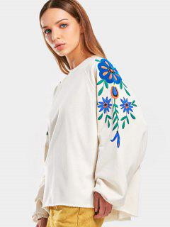 Raglan Sleeve Floral Patched Sweatshirt - Off-white