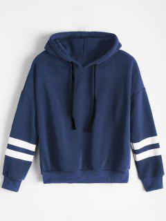 Drop Shoulder Striped Drawstring Hoodie - Deep Blue