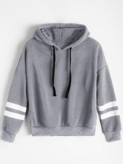 Drop Shoulder Striped Drawstring Hoodie - Gray