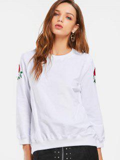 Sweatshirt Brodé En Coton à Manches Courtes - Blanc S