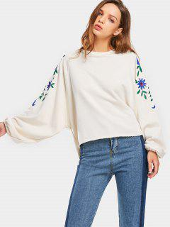 Raglan Sleeve Oversized Floral Sweatshirt - Off-white