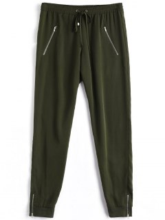 Casual Zipper Pocket Drawstring Pants - Army Green L