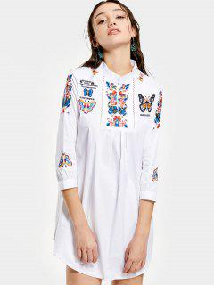 Floral Butterfly Patched Shift Dress - White Xl
