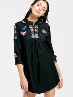Floral Butterfly Patched Shift Dress - Black Xl