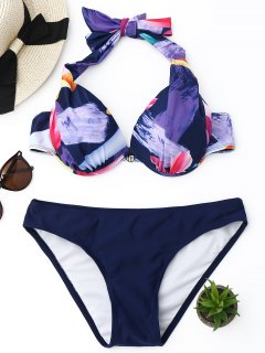 Printed Push Up Halter Bikini Set - Purplish Blue M