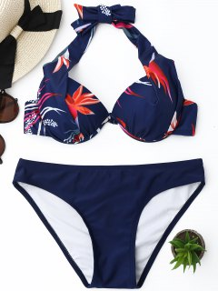 Push Up Floral Underwire Bikini Set - Purplish Blue S