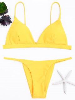 Spaghetti-Trägern Tauch-Bikini-Set - Gelb S