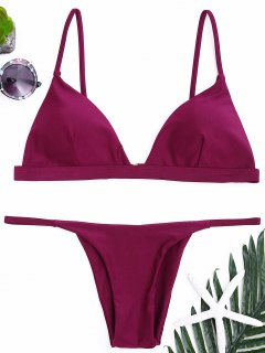 Spaghetti Straps Plunge Thong Bikini Set - Purplish Red S