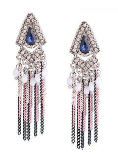 Resin Rhinestone Teardrop Fringed Chain Earrings - Blue