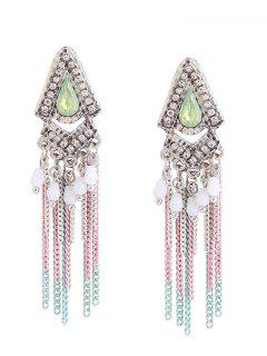 Resin Rhinestone Teardrop Fringed Chain Earrings - Green